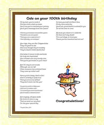 Ode on your 100th Birthday